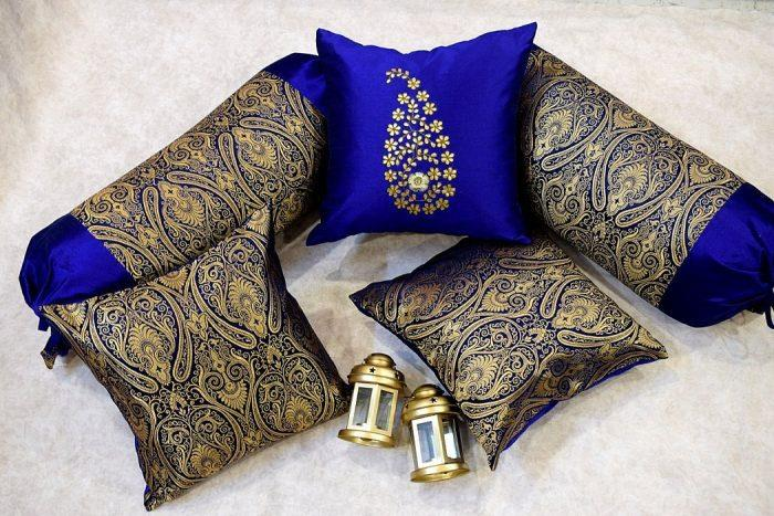 "Silk Brocade fabric hot pink x metallic gold 44"" BRO577[1]"