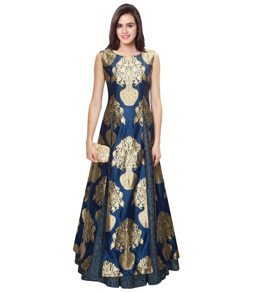 Heavy Silk Brocade Fabric royal blue x Metallic Gold color 36'' bro583[4]