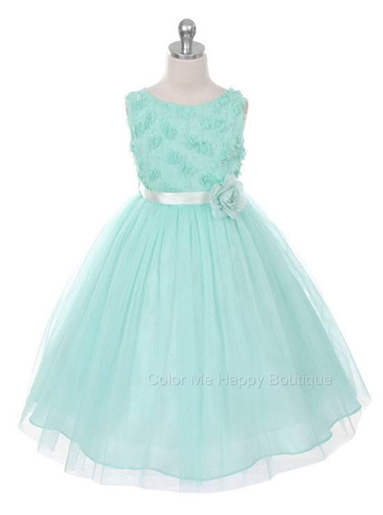 b70528a698b Bonaz Bodice Tulle Skirt Flower Sleeveless Dress Mint Girls 2-12 ...