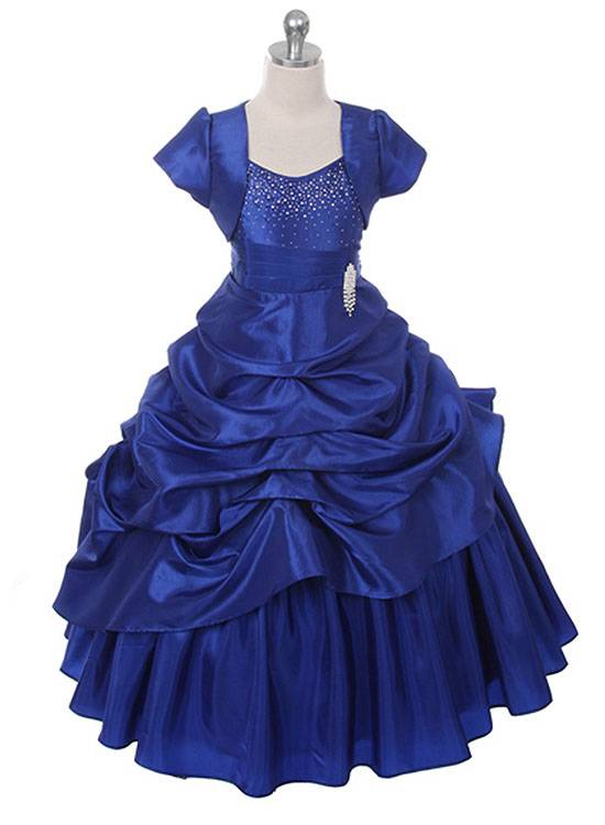 New Royal Blue Floor Length Flower Girl Princess Dress