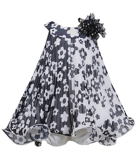 038768eff Bonnie Jean Black White Floral Positive-Negative Pleated Dress BABY Girls  12m-24m