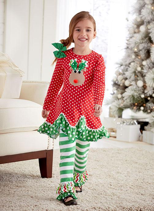 Peaches N Cream Red Green Rockin Reindeer Leggings Set