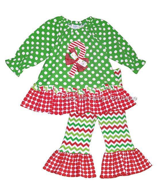 Peaches N Cream Green Red Polka Dot Candy Cane Pant Set Girls 4 6x