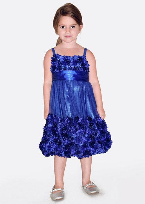 Bonnie Jean Royal Blue Bonaz Mesh Bubble Dress Girls 7 16