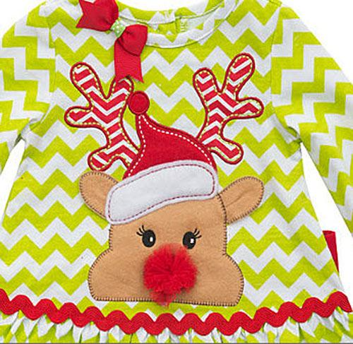 Rare Editions Lime Red Chevron Rudolph Leggings Set Baby