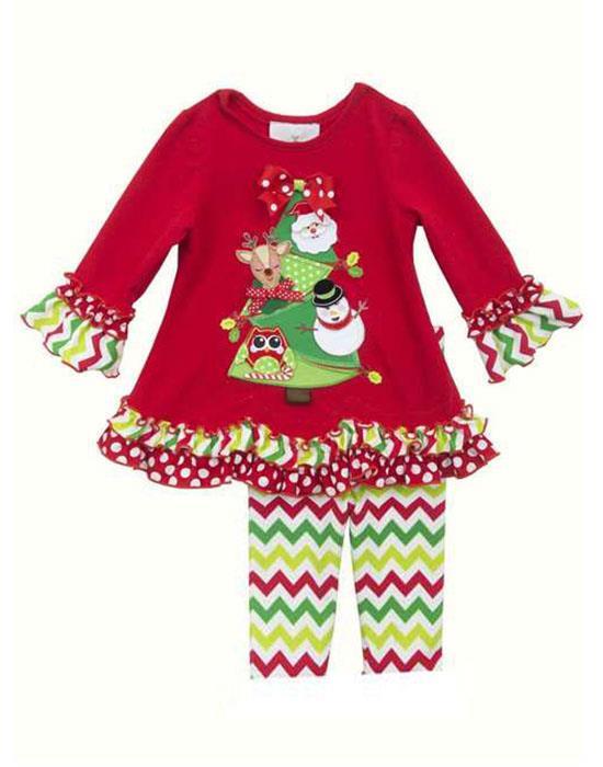 86eb7ce058917 Rare Editions Red Green Chevron CHRISTMAS TREE Leggings set BABY Girls  12m-24m