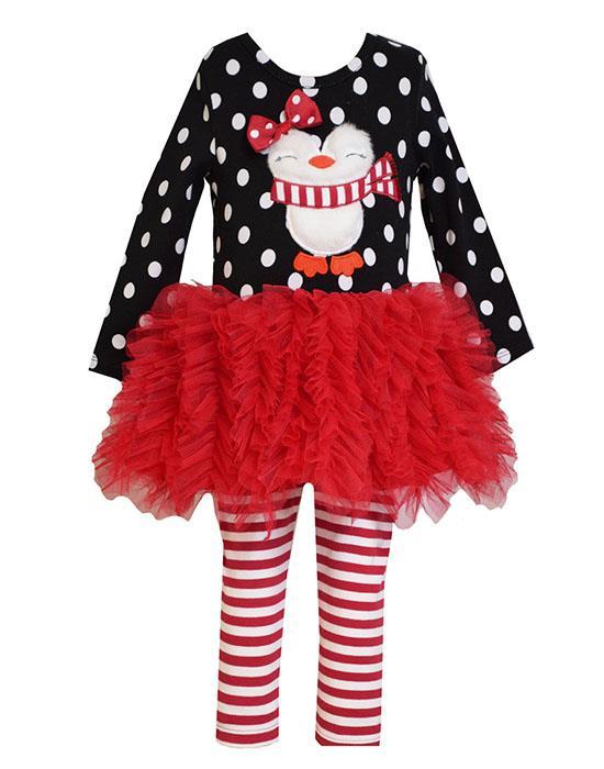 b3ca90661d145 Bonnie Jean Red Black Fuzzy PENGUIN Tutu Leggings Set BABY Girls 12m-24m