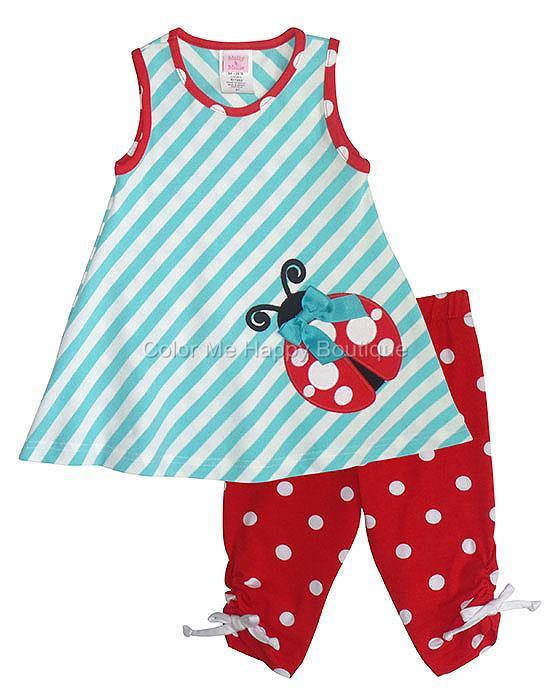 Peaches N Cream Aqua Red Ladybug Tunic Capri Set Toddler Girls 2t 4t