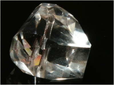 ART DECO CZECH CRYSTAL GEOMETRIC DROP FACETED GLASS BEAD 16 mm Cubism