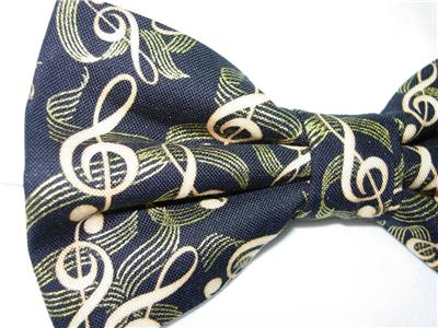 Gilded Treble Clefs Pre-tied Bow tie Ribbons of Gold on Black Music Bow tie