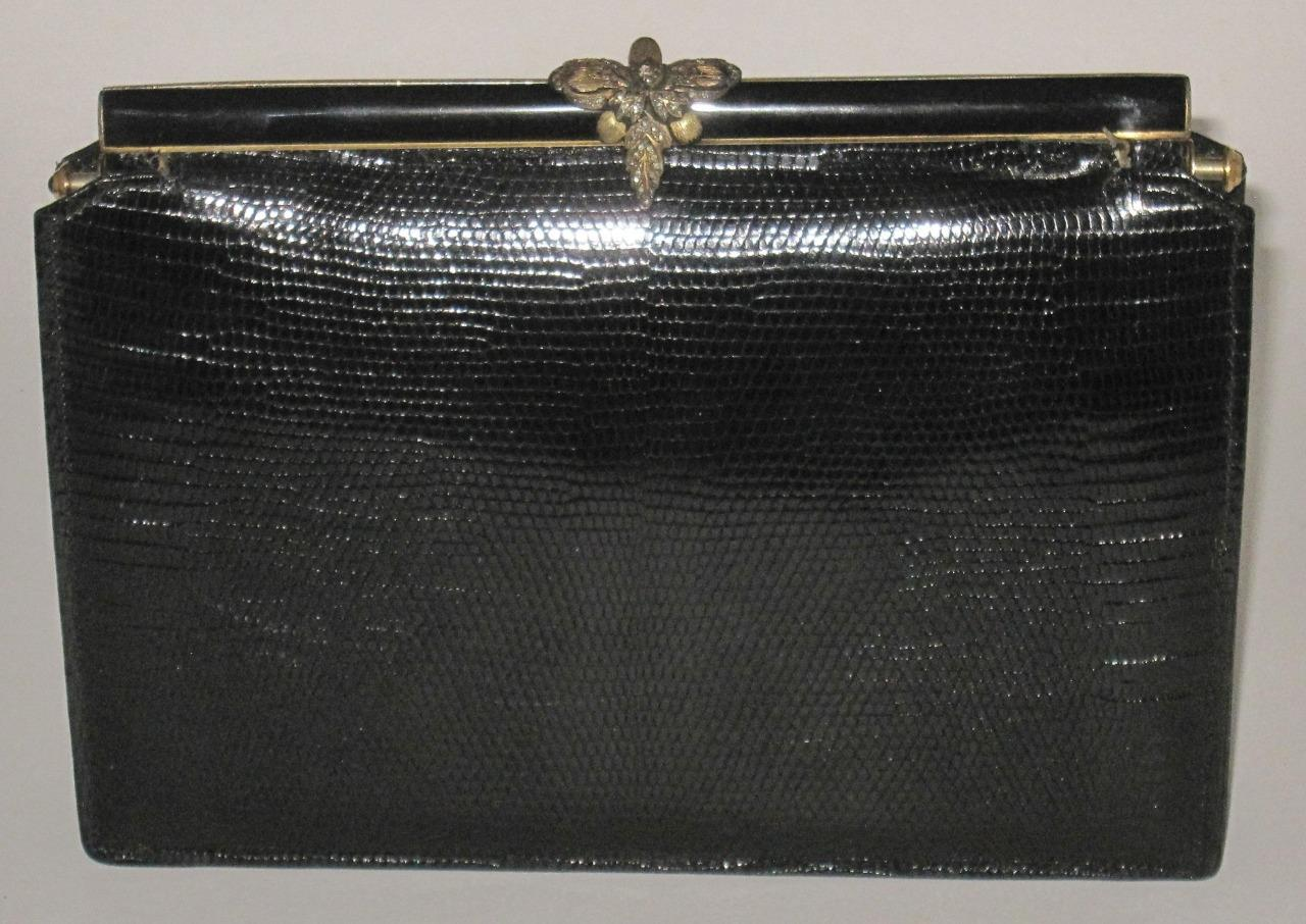 Vintage-Small-Black-Clutch-Handbag-Purse-Made-in-France-See-Photo-of-Logo