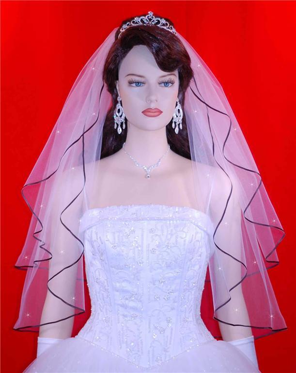 2 tier wedding veil with black trim