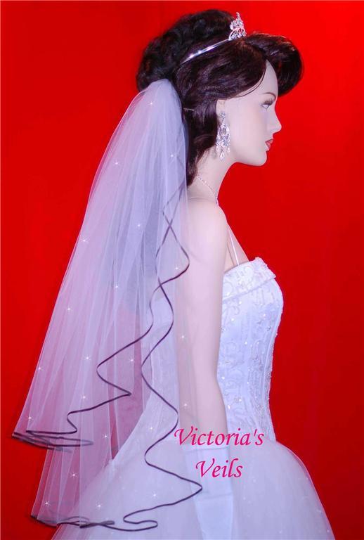 black trim bridal veil
