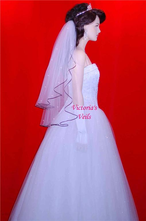 black ribbon bridal veils