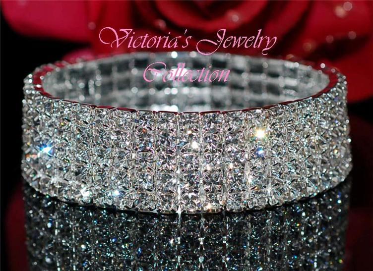 5 Row Swarovski Crystal Fashion Wedding Bridal Prom Bracelet 2B5 ... db8827ac20