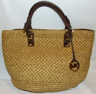 34e5edba613317 MICHAEL KORS Santorini Straw Basket Tote Bag Purse Handbag on PopScreen