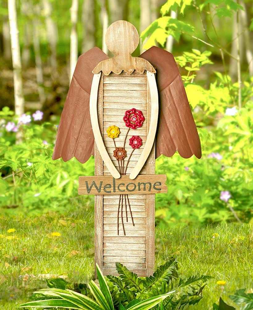 Country Welcome Shutter Angel Garden Stake or Wall Art Outdoor Yard ...