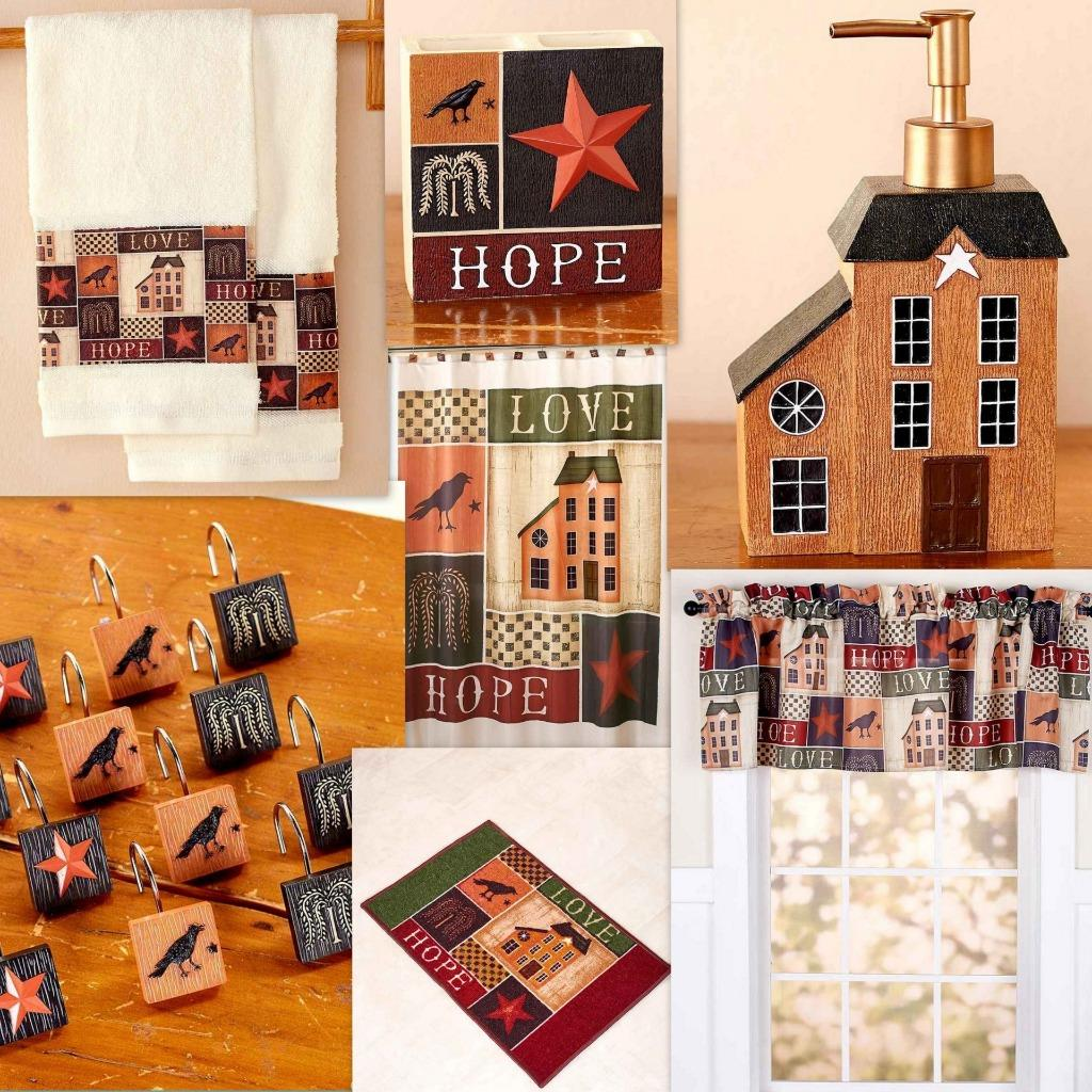 Details About Country Primitive Collage Bath Shower Curtain Towels Valance Soap Toothbrush