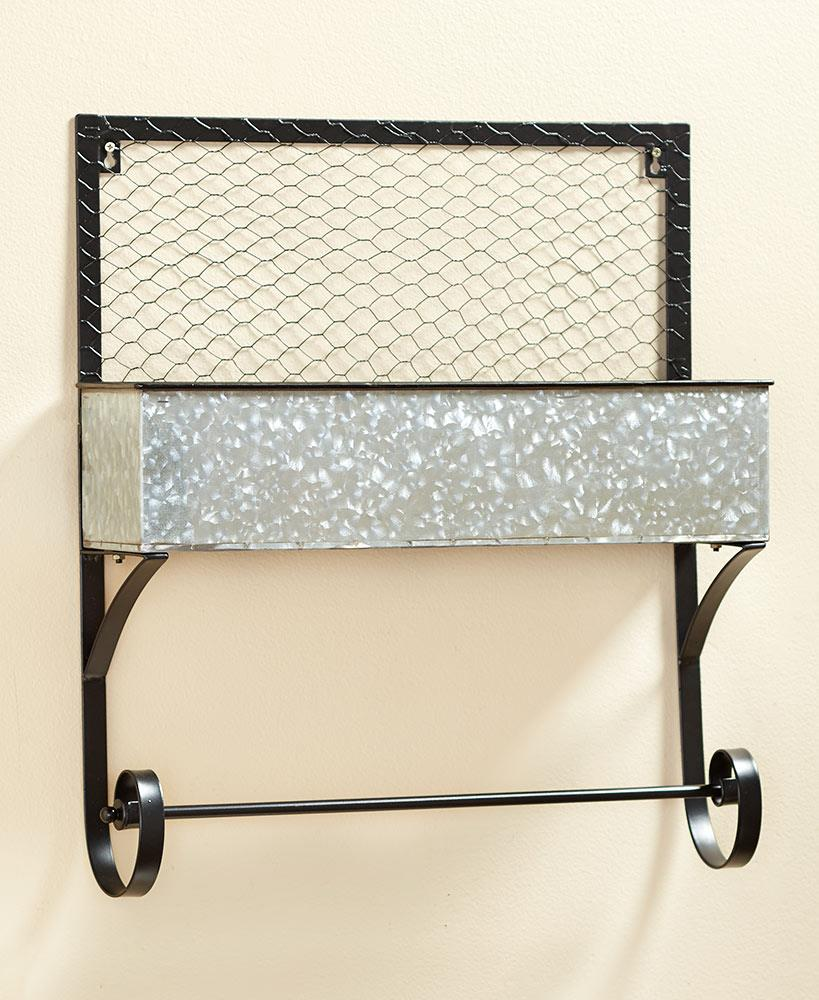Galvanized Metal Farmhouse Rustic Bath Wall Storage Shelf Towel