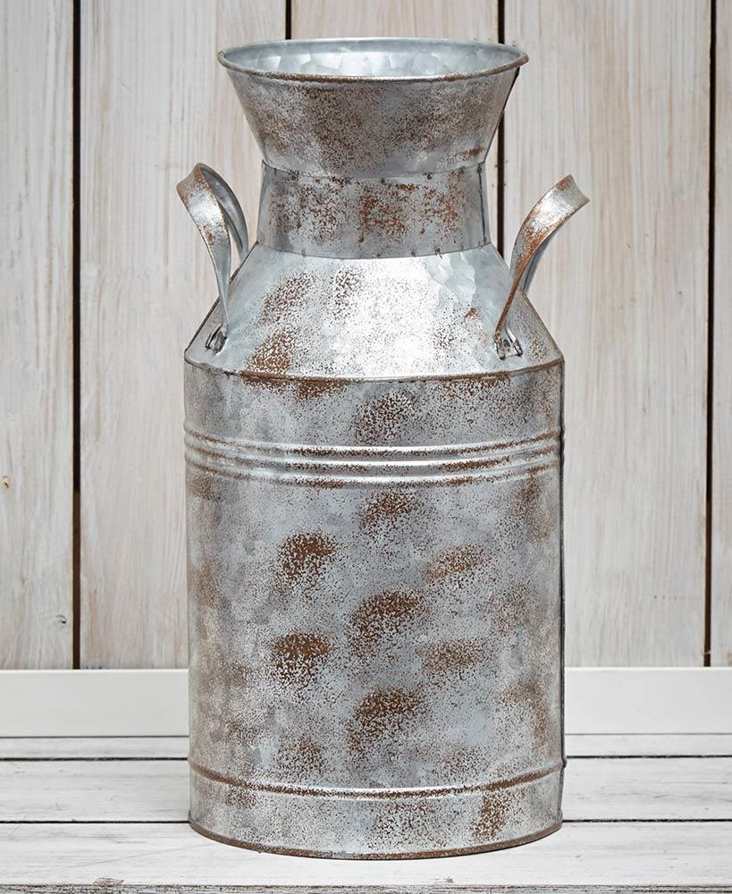 Soyizom Rustic Galvanized Tin Milk Can Style Metal Vase Flower Pitcher Jug Pot For Vintage Farmhouse Country Primitive Home Decor Home Home Decor