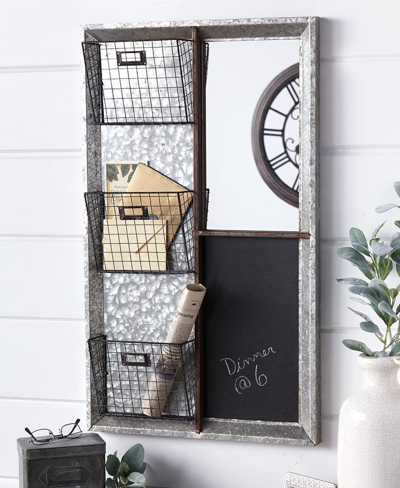 32 Quot Galvanized Command Center Entryway Mirror Mail