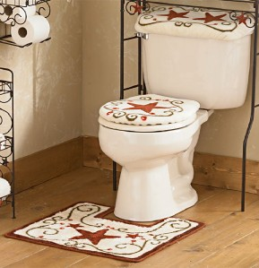 3pc rustic red barn star bathroom toilet rug set new ebay. Black Bedroom Furniture Sets. Home Design Ideas