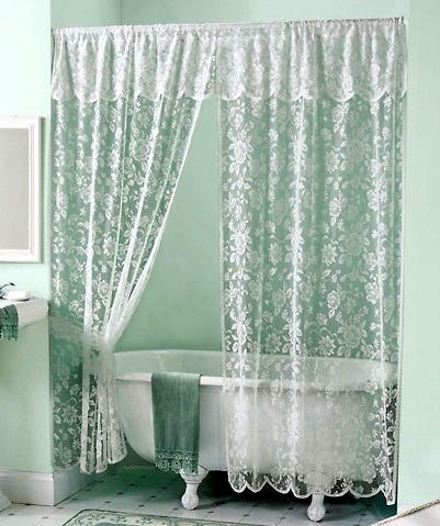 Vintage White Lace Shower Curtain Amp Valance Set New Ebay