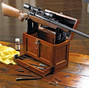 What Stores Accept Paypal Credit >> Wooden Rifle Gun Cleaning Station Storage Tool Box New! | eBay