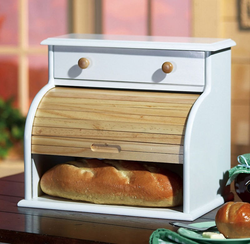 Kitchen Bread Drawer: New Country White Kitchen Bread Box With Drawer