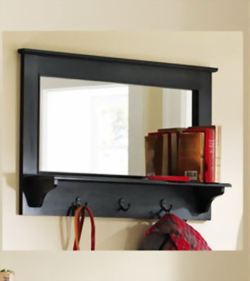Entryway Wooden Wall Mirror Shelf And Coat Rack Black 35 New