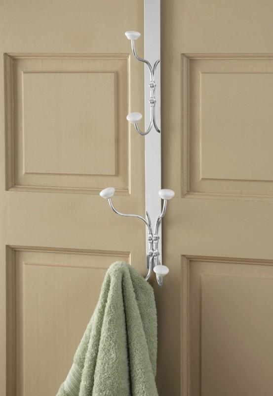 Bathroom Over The Door Hamper Towel Bar Storage Organizer