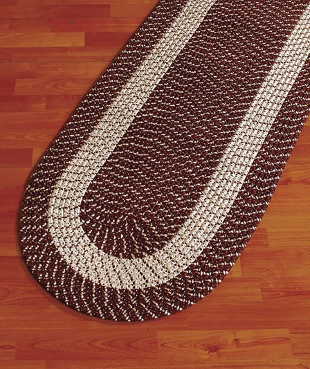 Kitchen Laundry Natural Brown Tan Cream Braided Runner Rug