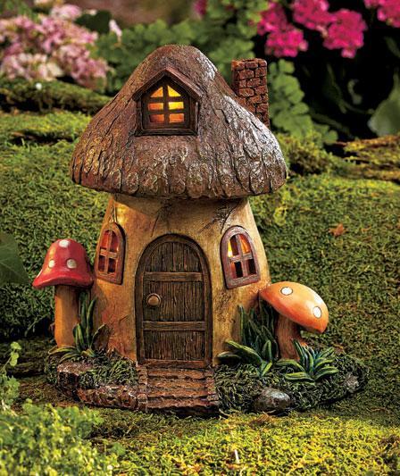 Gnome In Garden: Solar Lighted Fairy Garden & Gnome Home Houses Mushroom