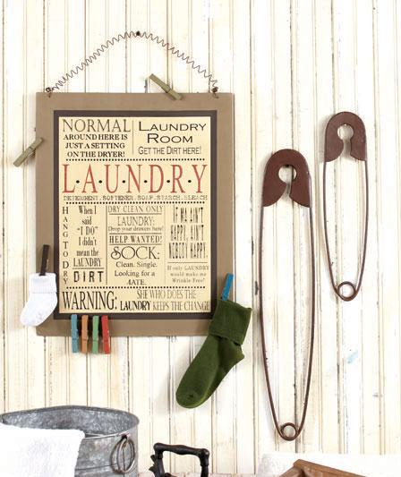 Set of 2 giant nostalgic country safety pins sewing - Laundry room wall decor ...