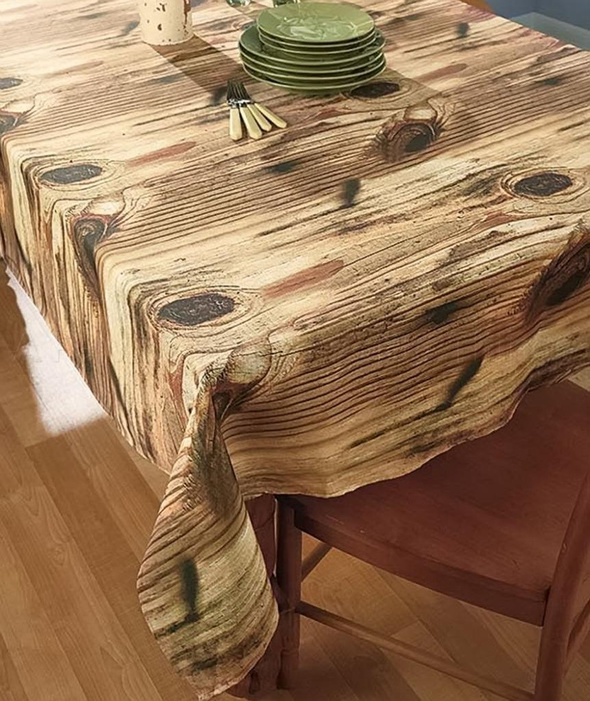 Cedar Round Log Dining Table Real Wood And 50 Similar Items: Rustic Lodge Cabin Photo Real Natural Wood Look Tablecloth
