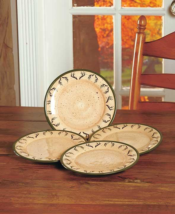 Set Of 4 Country Rustic Lodge Woodland Deer Dinnerware 10