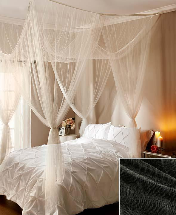Ceiling Canopy Bedroom: NEW Sheer Bed Canopy Netting Ceiling Or Four Poster Ecru
