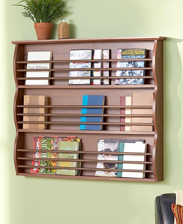 Magazine Shelf: Versatile Wall Mount Wood Shelf Storage Plate Display