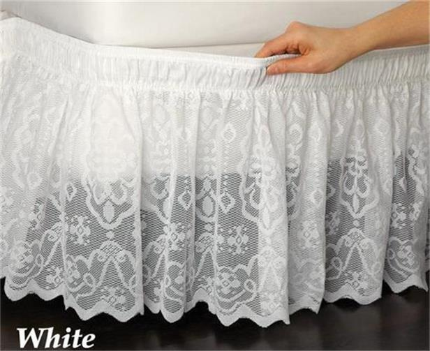Wrap Around White Lace Bed Skirt Ruffle Fits Twin Full