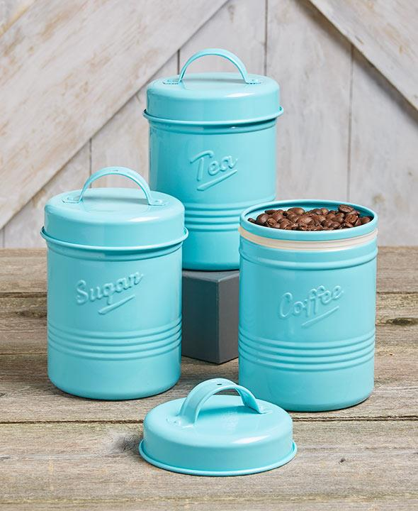 3 Pc Vintage Metal Canister Set Country Kitchen Containers