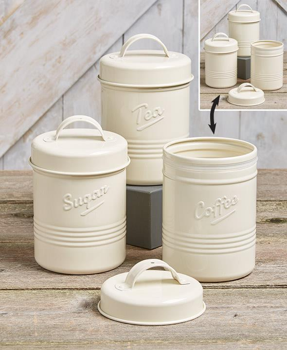 White Embossed Kitchen Canister Set
