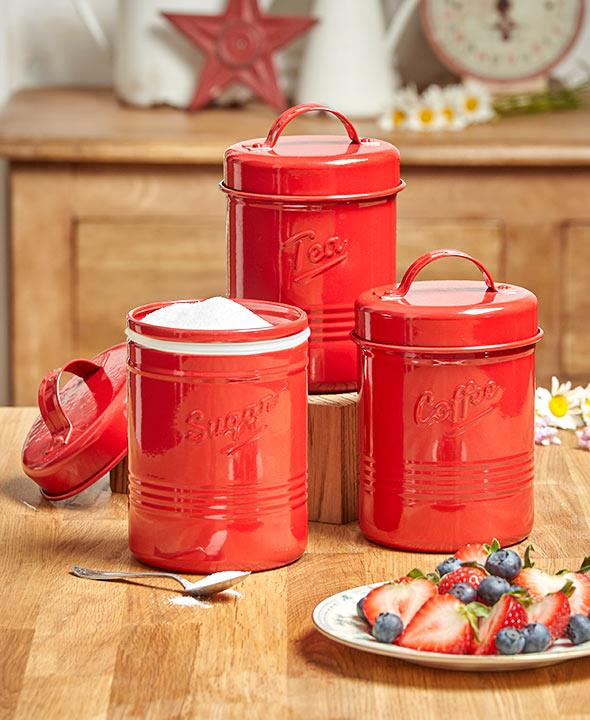 This Set Of 3 Vintage Metal Canisters Is A Cute Addition To Your Country  Kitchen. Each Has A Lid With A Silicone Seal To Preserve The Freshness Of  Whatever ...
