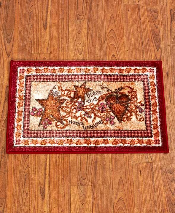 hearts and stars kitchen collection country primitive hearts stars berries vines bathroom floor mat rug new ebay 8084