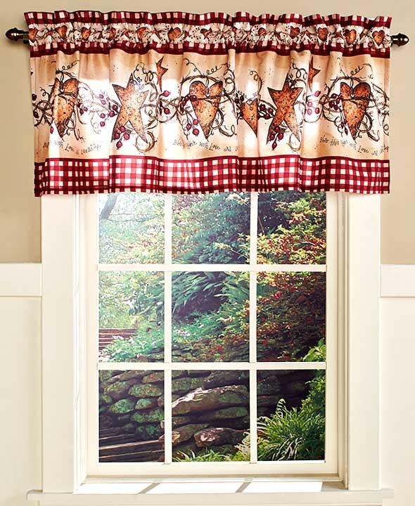 hearts and stars kitchen collection country primitive hearts stars berries bathroom fabric shower curtain new ebay 8557