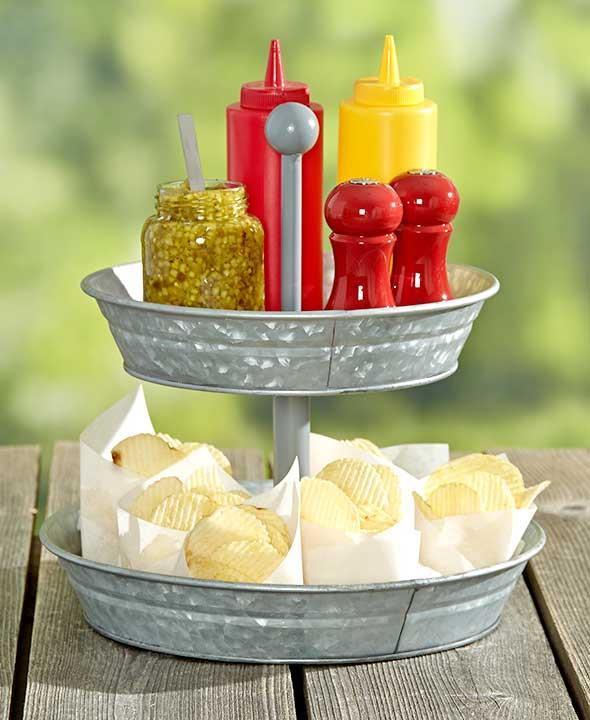 2 tier galvanized serving tray outdoor country bbq party round snack stand new ebay. Black Bedroom Furniture Sets. Home Design Ideas
