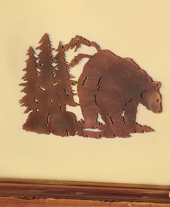 Die-Cut Metal Rustic Wall Art Sculpture BEAR Northwood Cabin Lodge ...