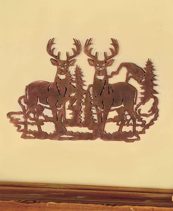 Die-Cut Metal Rustic Silhouette Wall Art Deer Buck Cabin Lodge Home ...