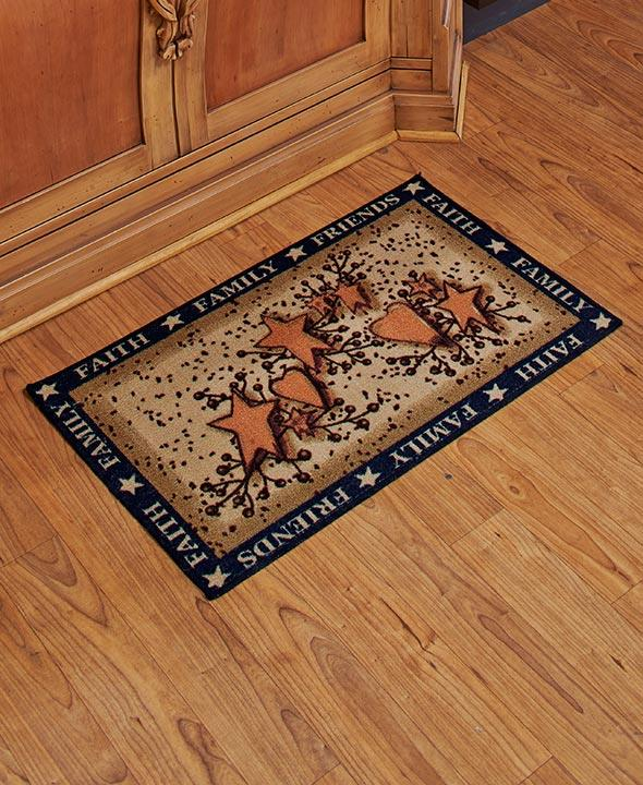 Autumn Fall Hearts Stars & Berries Country Kitchen FLOOR MAT Rug NEW ...
