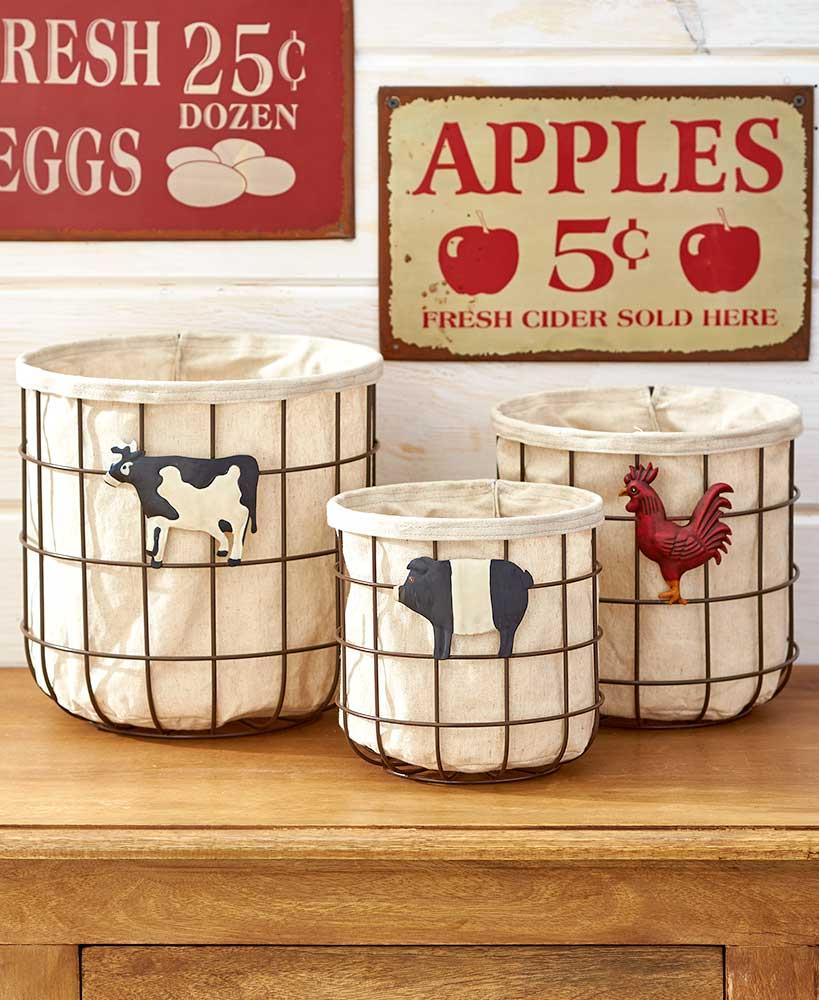 Store Fresh Produce In This Set Of 3 Country Vegetable/Fruit Baskets. These Lined  Wire Baskets Add A Rustic Accent To Your Kitchen Countertop Or Pantry ...