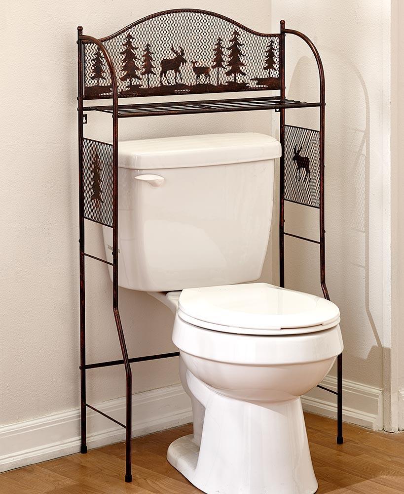 Bronze Metal Deer & Moose Over the Toilet Stand Storage Organizer ...